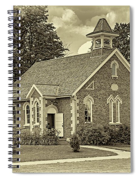 The Way We Were - One Room School House - Sepia Spiral Notebook