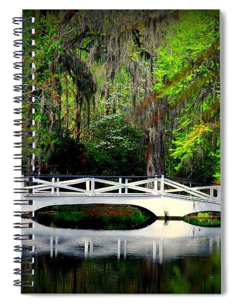 The White Bridge In Magnolia Gardens Sc Spiral Notebook