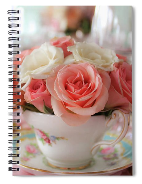 Spiral Notebook featuring the photograph Teacup Roses by Alison Frank