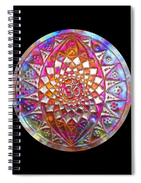 Spiral Notebook featuring the sculpture Third Up Kupfer Lichtmandala by Robert Thalmeier