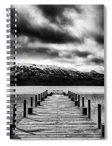 Landscape With Lake And Snowy Mountains In The Argentine Patagonia - Black And White Spiral Notebook