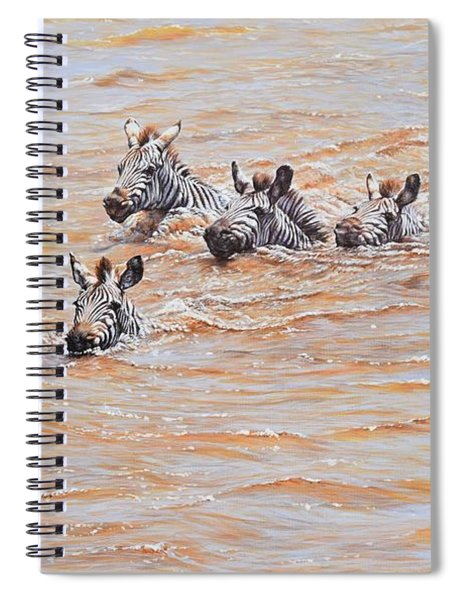 Spiral Notebook featuring the painting This Way Mum by Alan M Hunt