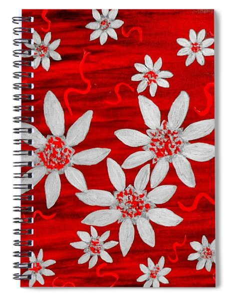Three And Twenty Flowers On Red Spiral Notebook