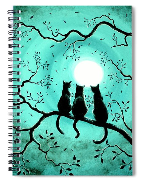 Three Black Cats Under A Full Moon Spiral Notebook