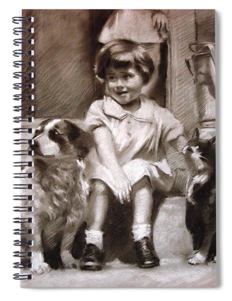 Three Friends On The Doorstep Spiral Notebook