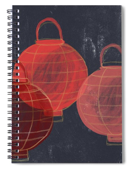 Three Red Lanterns- Art By Linda Woods Spiral Notebook