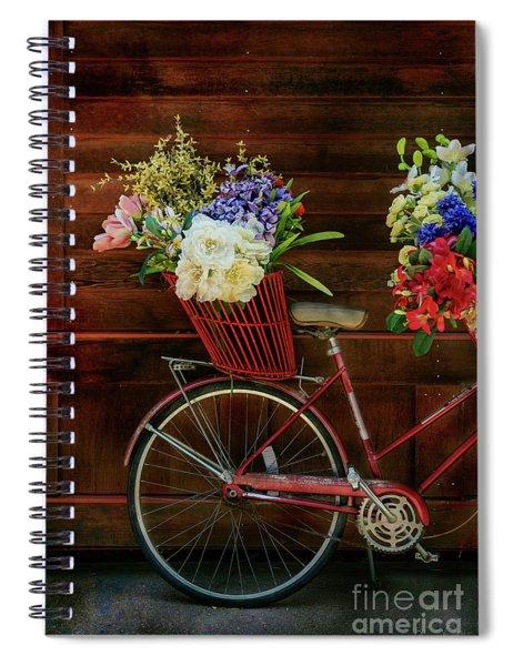 Three Speed Flower Bicycle Spiral Notebook