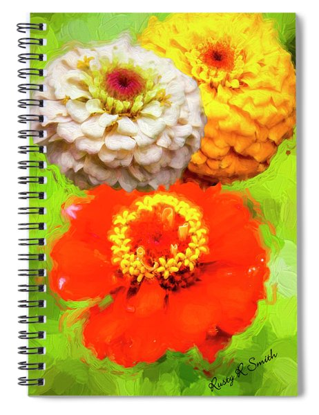 Three Zinnia Flowers. Spiral Notebook