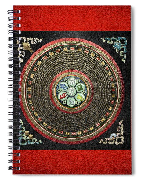 Tibetan Om Mantra Mandala In Gold On Black And Red Spiral Notebook