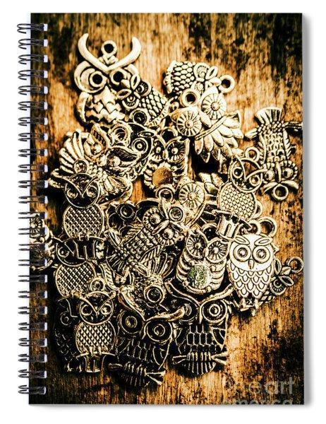 Tibetan Owl Charms Spiral Notebook