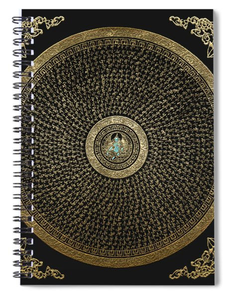 Tibetan Thangka - Green Tara Goddess Mandala With Mantra In Gold On Black Spiral Notebook