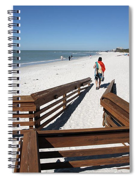 Tide Of Sand Over A Ramp On The Beach In Naples Florida Spiral Notebook