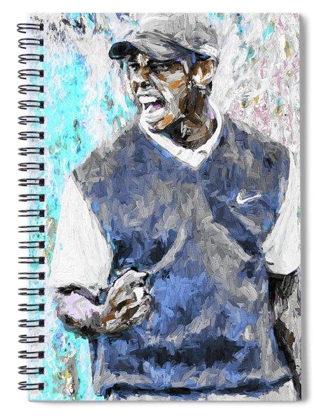 Tiger Woods One Blue Golfer Digital Art Spiral Notebook