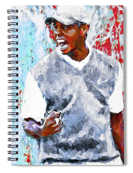Tiger Woods One Two Red Painting Digital Spiral Notebook