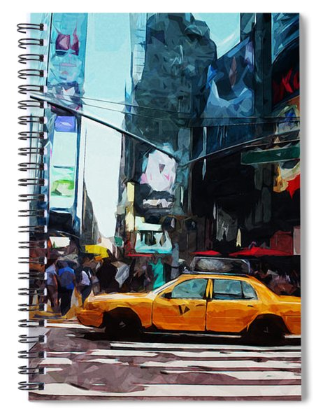 Times Square Taxi- Art By Linda Woods Spiral Notebook