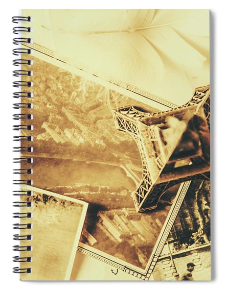 Toned Image Of Eiffel Tower And Photographs On Table Spiral Notebook