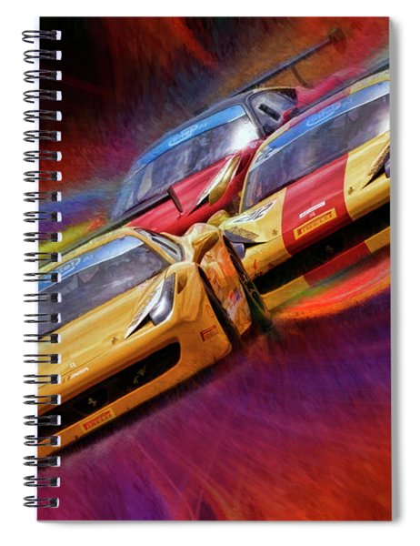 Tony Ferraro Leads Mike Louli And Keith Larson Ferrari Challenge 458 Spiral Notebook