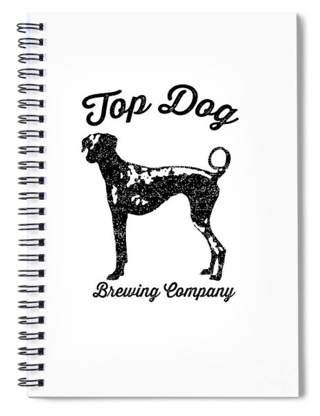 Spiral Notebook featuring the drawing Top Dog Brewing Company Tee by Edward Fielding
