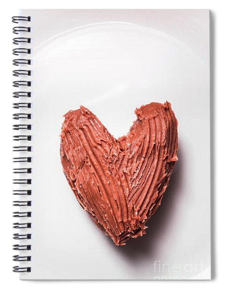 Top View Of Heart Shaped Chocolate Fudge Spiral Notebook