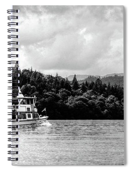 Touring The Lakes Black And White Spiral Notebook
