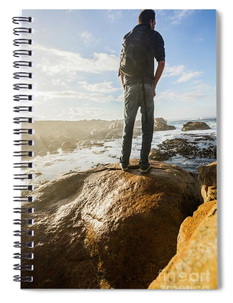 Tourist Looking At The Ocean Spiral Notebook
