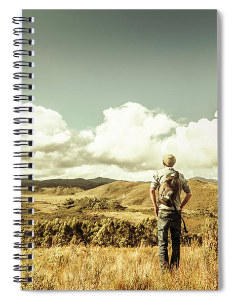 Tourist With Backpack Looking Afar On Mountains Spiral Notebook