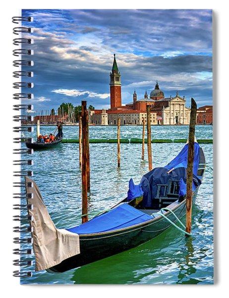 Gondolas And San Giorgio Di Maggiore In Venice, Italy Spiral Notebook