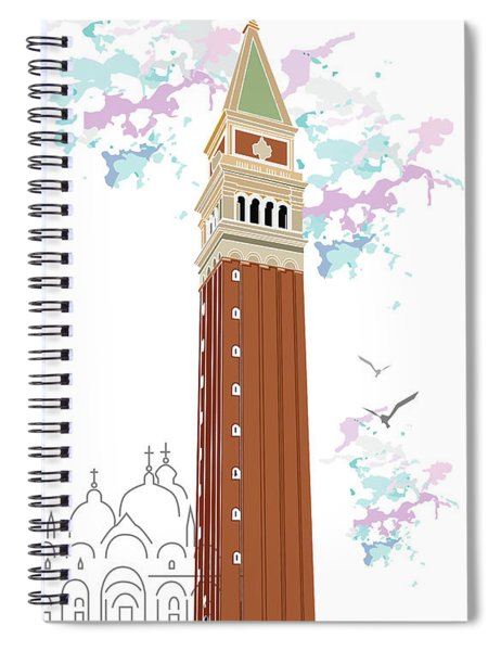 Tower Of Campanile In Venice Spiral Notebook