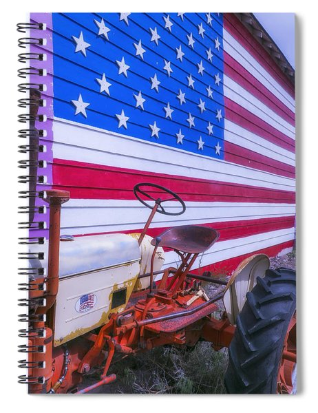 Tractor And Large Flag Spiral Notebook