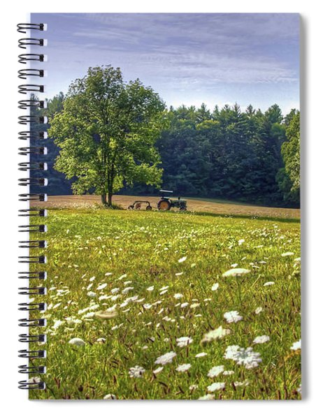 Tractor In Field With Flowers Spiral Notebook
