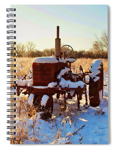 Tractor In Frosted Field  Spiral Notebook