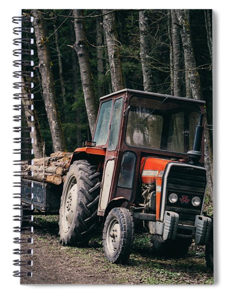 Tractor In The Forest Spiral Notebook