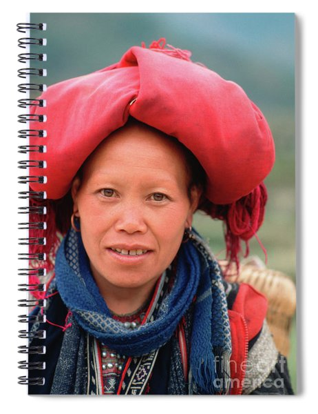 Traditional Fashion Of A Red Dzao Woman Spiral Notebook