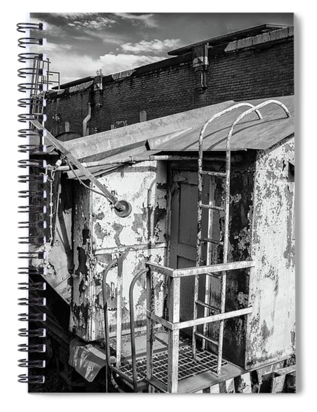 Train 6 In Black And White Spiral Notebook
