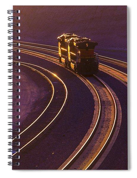 Train At Sunset Spiral Notebook