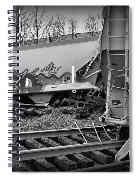 Train Off The Rails In Black And White Spiral Notebook