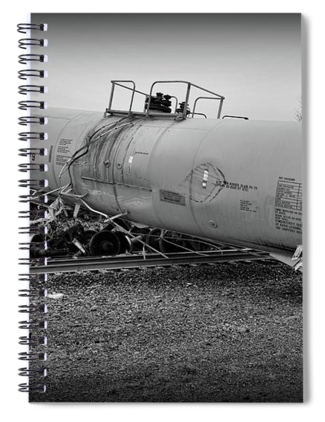 Train Off The Tracks In Black And White Spiral Notebook