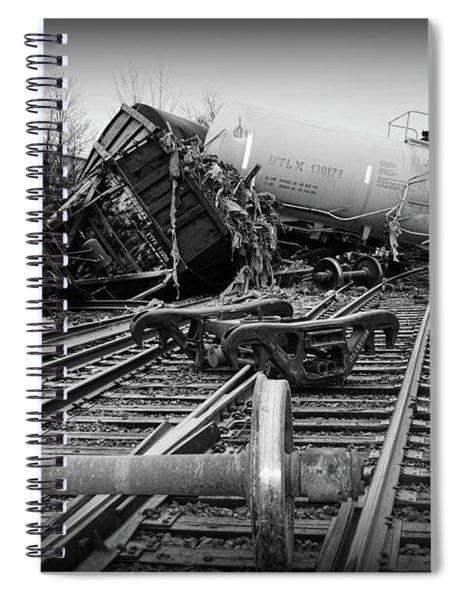 Train Wreck In Black And White Spiral Notebook