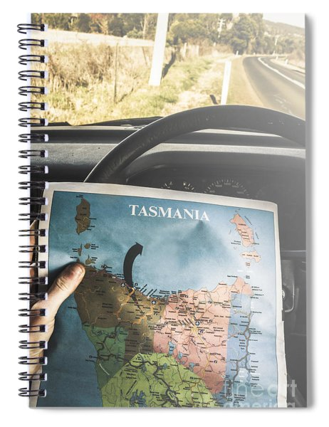 Travelling Tourist With Map Of Tasmania Spiral Notebook