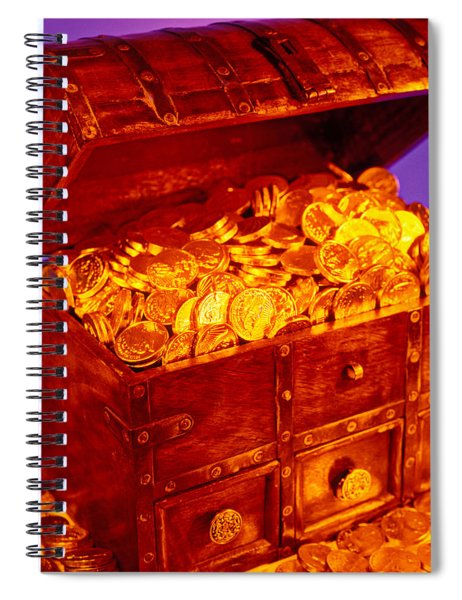 Treasure Chest With Gold Coins Spiral Notebook