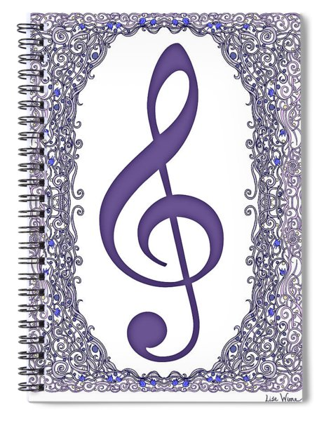 Treble Clef With Purple Border Spiral Notebook