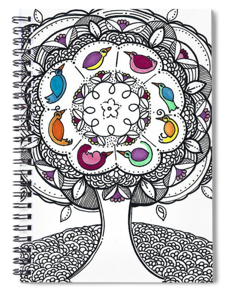 Tree Of Life - Ink Drawing Spiral Notebook