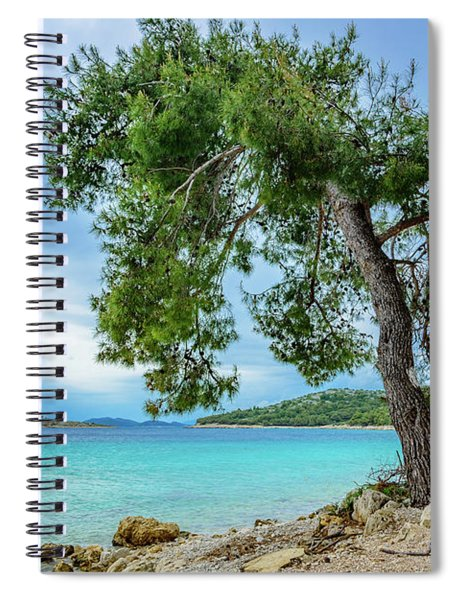 Tree On Northern Dalmatian Coast Beach, Croatia Spiral Notebook