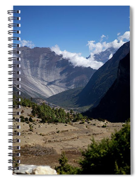 Trees And Snowcapped Peak At Background In The Himalaya Mountains, Nepal Spiral Notebook