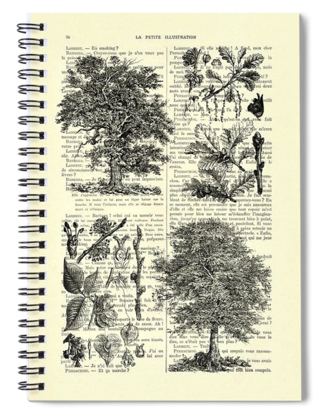 Trees Black And White Illustration Spiral Notebook