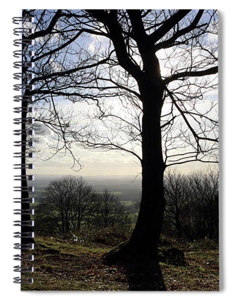Trees In Silhouette In Surrey Hills Uk Spiral Notebook