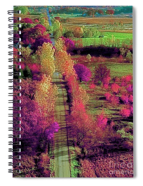 Tree Top View Of A Illinois Country Road Fall Spiral Notebook