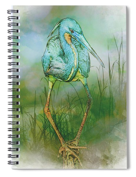 Spiral Notebook featuring the photograph Tri-colored Heron Balancing Act - Colorized by Patti Deters