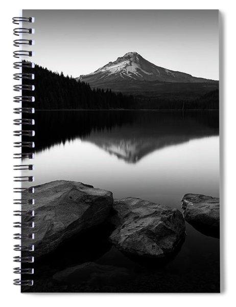 Trillium Lake - Black And White Spiral Notebook