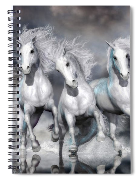 Trinity Galloping Horses Blue Spiral Notebook
